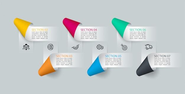 Infografiki papierowe etykiety wstążkowe, procesy opcji infografiki.