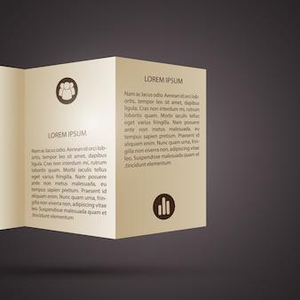 Infografiki papieru biznesowego z zagiętym tekstem broszury i ikonami