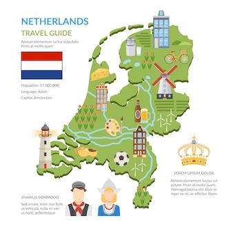 Infografiki płaskie mapa holandii