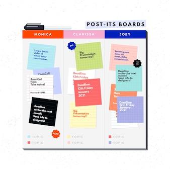 Infografiki płaskie post-it