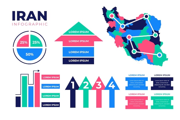 Infografiki płaskiej mapy iranu