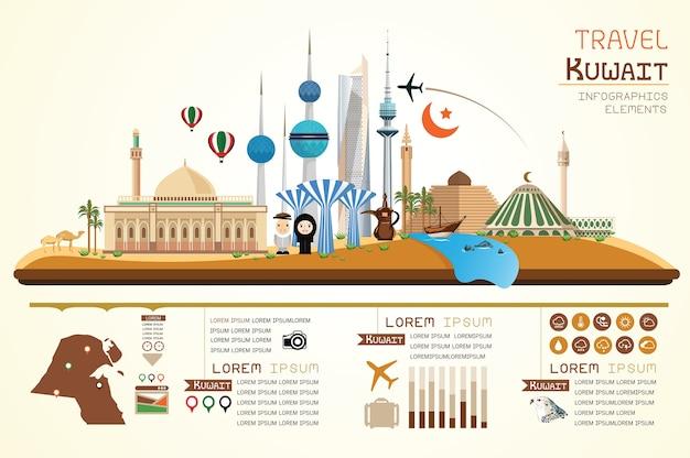 Infografiki podróży i punkt orientacyjny kuwejt szablon projektu.