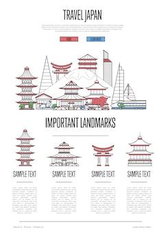 Infografiki podróży japonii w stylu liniowym