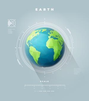 Infografiki półkuli ziemi wielokątne ze skalą