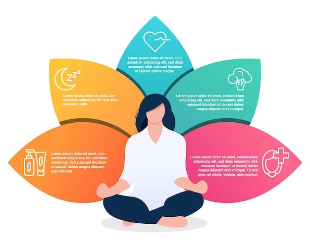 Infografiki porad zdrowotnych dla kobiet dziewczyna siedząca w pozycji lotosu ikony zdrowego stylu życia