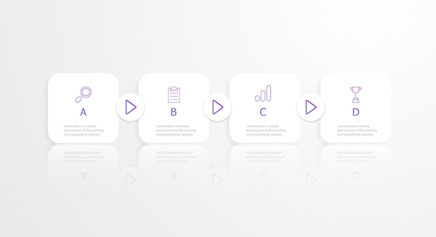 Infografiki poziomej kwadratowej osi czasu 4 kroki