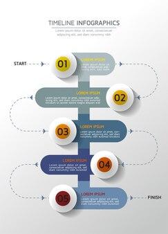 Infografiki. prezentacja i wykres. kroki lub procesy. liczba opcji projekt szablonu przepływu pracy, 5 kroków.