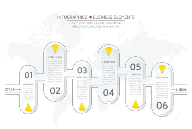 Infografiki. prezentacja i wykres. kroki lub procesy. liczba opcji projekt szablonu przepływu pracy, 6 kroków.