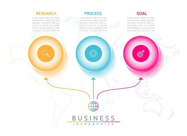 Infografiki. prezentacja i wykres. kroki lub procesy. opcje numer projektu szablonu przepływu pracy. 3 kroki.