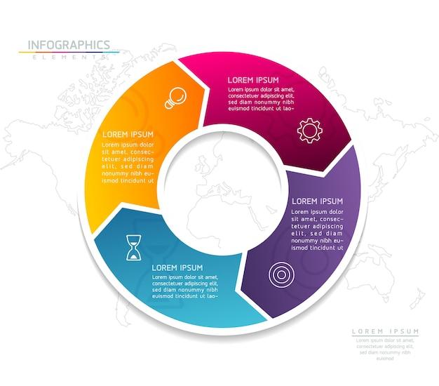 Infografiki. prezentacja i wykres. kroki lub procesy. opcje numer projektu szablonu przepływu pracy. 4 kroki.