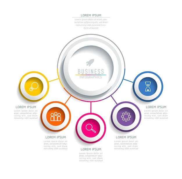 Infografiki. prezentacja i wykres. kroki lub procesy. opcje numer projektu szablonu przepływu pracy. 5 kroków.