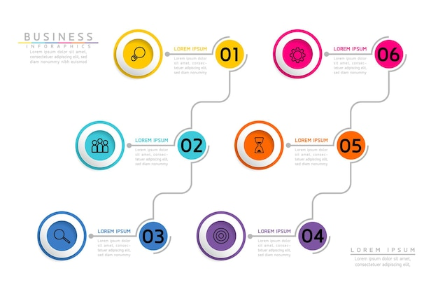 Infografiki. prezentacja i wykres. kroki lub procesy. opcje numer projektu szablonu przepływu pracy. 6 kroków.