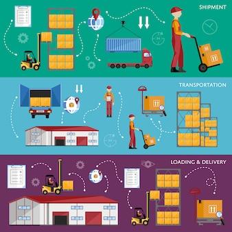 Infografiki proces magazynowy cztery banery.
