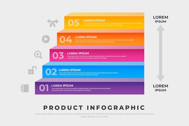 Infografiki produktu projektu gradientu