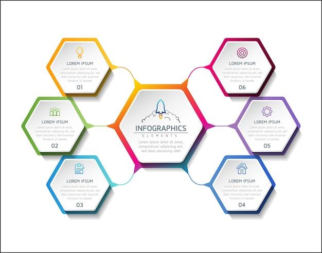 Infografiki projekt szablonu wykres prezentacji informacji biznesowych z 6 opcjami lub krokami