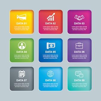 Infografiki prostokąt papier indeks z 9 szablon danych.