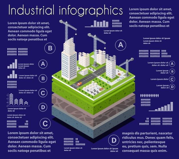 Infografiki przemysłowe geologiczne i podziemne warstwy gleby pod izometrycznym wycinkiem naturalnego krajobrazu
