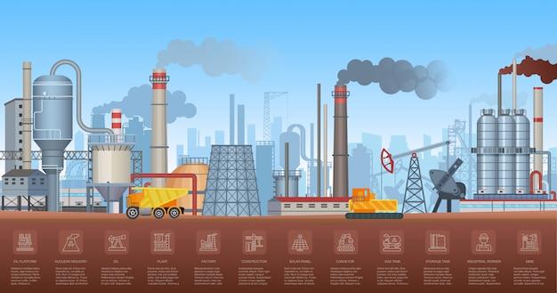 Infografiki przemysłowe z wykresami symboli fabryk i roślin i ikon. ilustracja przemysłu.