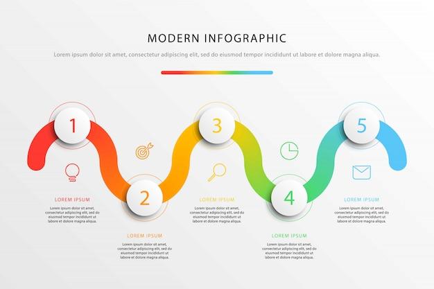 Infografiki przepływu pracy firmy z realistycznymi 3d okrągłymi elementami.