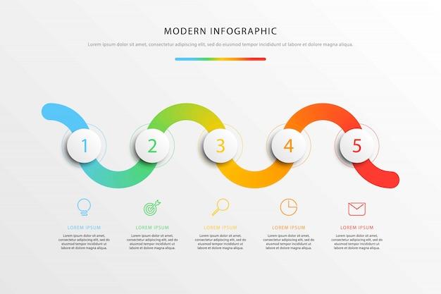Infografiki przepływu pracy na osi czasu z realistycznymi okrągłymi elementami 3d i ikonami marketingu płaskiej linii