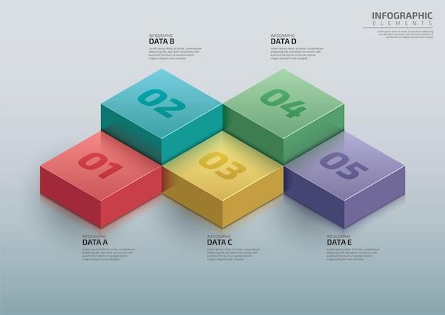 Infografiki przepływu procesów 3d szablon projektu osi czasu biznes infografika schemat schemat blokowy