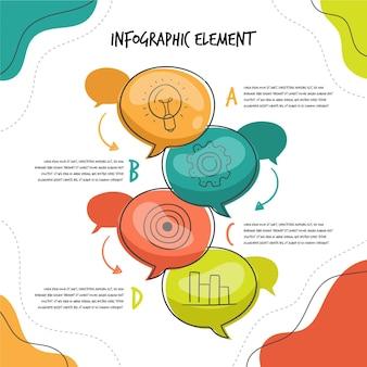 Infografiki ręcznie rysowane dymki