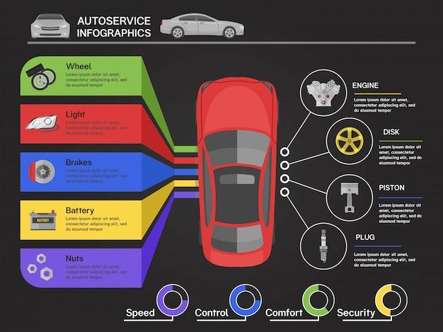 Infografiki serwisu samochodowego z widokiem samochodu z najlepszych schematów szczegółów maszyny