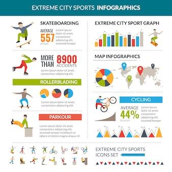 Infografiki sportów ekstremalnych miasta