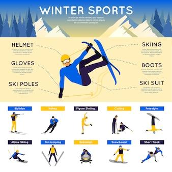Infografiki sportów zimowych