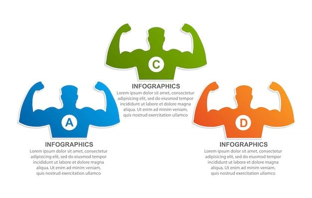 Infografiki sportowe dla siłowni i witryn związanych ze sportem.