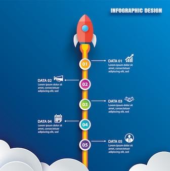 Infografiki startowe z szablonem danych pionowych o 5 okręgach.