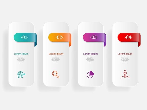 Infografiki streszczenie pasek poziomy kroki dla biznesu i prezentacji