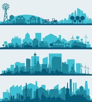 Infografiki streszczenie stylowy gród. kolekcja elementów infografiki z miastem, miastem, gospodarstwami i dzielnicami przemysłowymi
