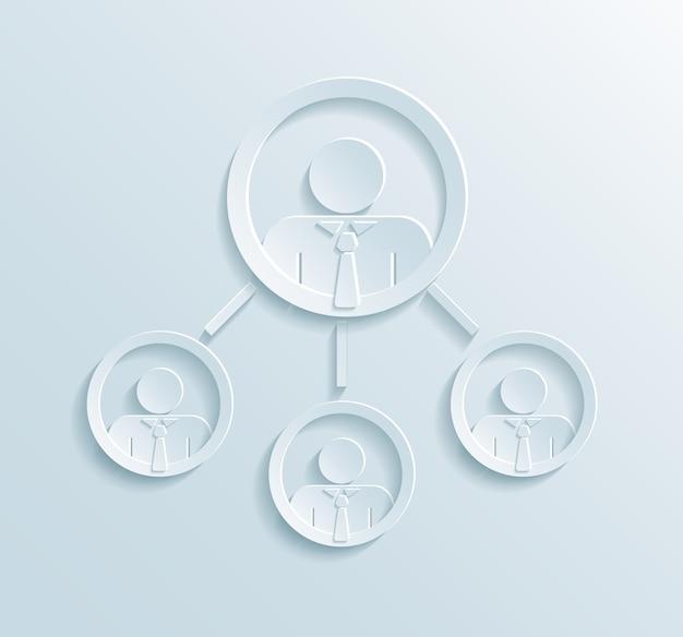 Infografiki struktury zarządzania przedsiębiorstwem z menedżerem lub liderem zespołu w górnym kręgu połączonym z trzema pracownikami lub pracownikami biurowymi w stylu papieru płaskiego
