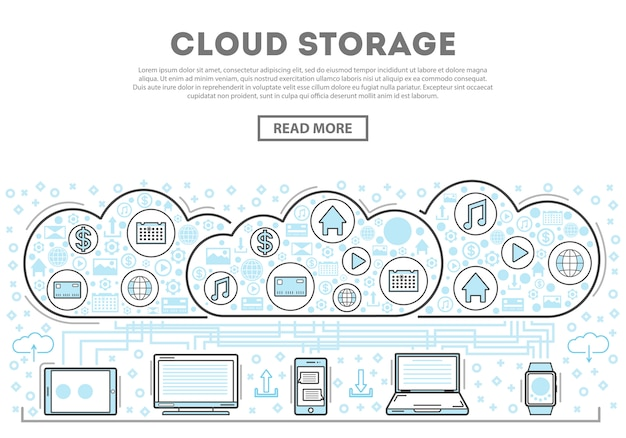Infografiki styl liniowy przechowywania w chmurze