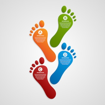 Infografiki szablon nowoczesny projekt stopy.