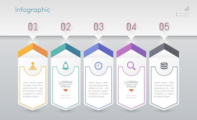 Infografiki szablon projektu z ikonami