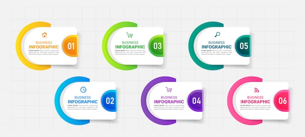 Infografiki szablon sześć opcji
