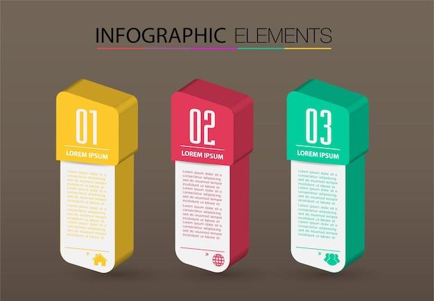 Infografiki szablon transparent 3d nowoczesne pole tekstowe
