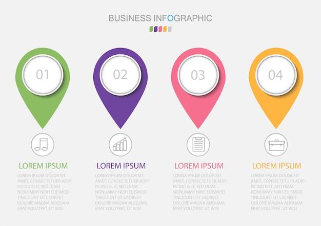 Infografiki szablon z czterema krokami lub opcjami