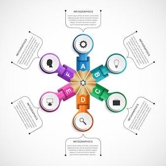 Infografiki szablon z kolorowym ołówkiem w postaci wstążek