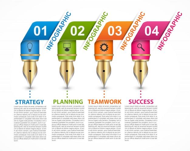 Infografiki szablon z kolorowym piórem.