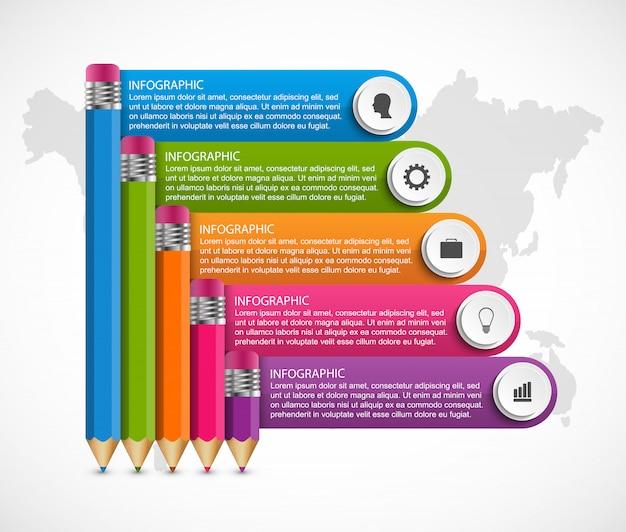Infografiki szablon z ołówkiem.