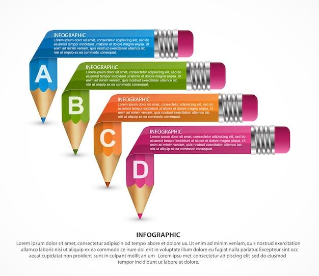 Infografiki szablon z ołówkiem