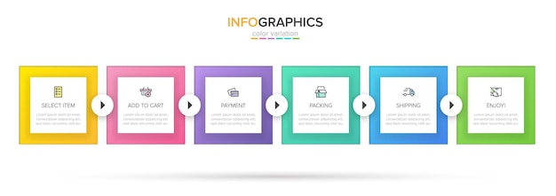 Infografiki szablonu. sześć opcji lub kroków z ikonami i tekstem.