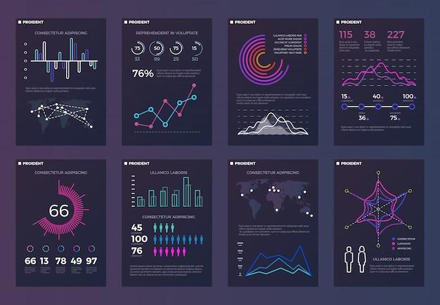 Infografiki, szablony broszur do raportów biznesowych z wykresami liniowymi i diagramami