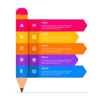 Infografiki szkolne w płaskiej konstrukcji