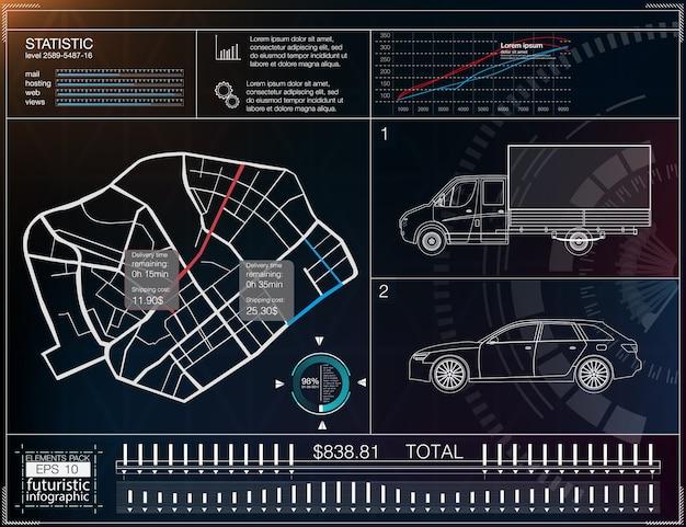 Infografiki transportu ładunków, szablon aplikacji do dostawy towarów. mapa dostaw ładunków. futurystyczny wyświetlacz informacyjny. łatwa zmiana koloru. elementy, które zostały przycięte.