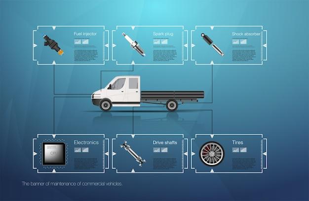 Infografiki transportu towarowego i transportu. szablon infografiki samochodowe. streszczenie wirtualny graficzny interfejs użytkownika dotykowy. diagnostyka samochodów.