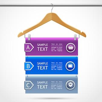 Infografiki ubrania drewniany wieszak z opisem na tubie izolowane 3d ilustracji wektorowych